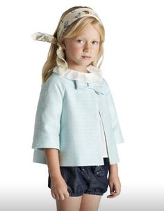 Soft spring colours for girls | Love the coat bow by Nanos