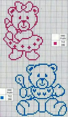 Punto De Cruz World crochet: For children 1 Baby Cross Stitch Patterns, Cross Stitch For Kids, Cross Stitch Baby, Cross Stitch Animals, Cross Stitch Charts, Cross Stitch Designs, Cross Stitching, Cross Stitch Embroidery, Embroidery Patterns