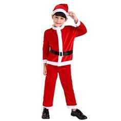 Multifit Kids Christmas Santa Costume Toddler Santa Claus Costume Suit with Hat