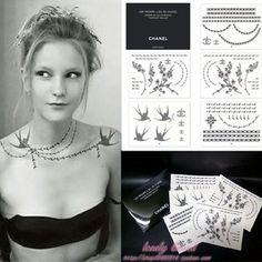 Pretty neck tattoo! Swallows, pearls