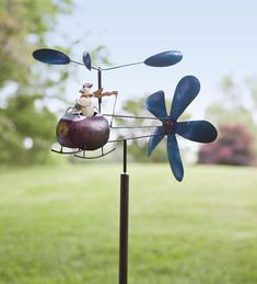 Chicken & Helicopter Recycled Metal Whirligig - I totally want this -- it just makes me laugh!