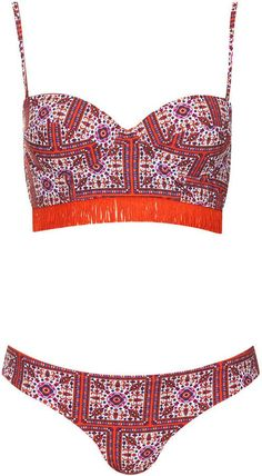 Pin for Later: A Rainbow of Bikinis For Your Summer Holiday Suitcase  Topshop tile print fringed bikini (£36)