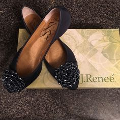 Brand New J. Renee Navy Geeze Louise Never been worn navy J. Renee Geeze Louise dress ballet flats in a size 7.5 M. Stunning beaded toe floral embellishment with a cushioned insole and traction outsole. J. Renee Shoes Flats & Loafers