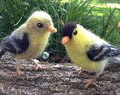Needle felt Goldfinch, Wool Songbird, Life Size