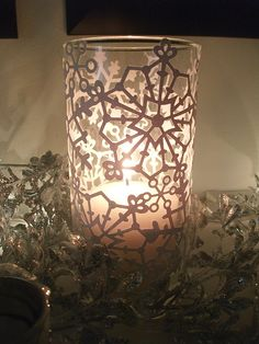 Snowflake Candle Holder but use LED tea light candles (no fire) Wine Bottle Glasses, Wine Bottle Art, Glass Bottle, Wine Bottles, Wine Glass, Christmas Candle Lights, Advent Candles, Glitter Wrapping Paper, Hurricane Candle Holders