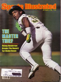 "Vintage Sports Illustrated September 6, 1982: The ""Master Thief"" Rickey Henderson on the cover."