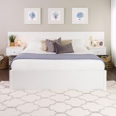 Prepac White Floating King Headboard with Nightstands