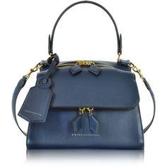 Victoria Beckham Designer Handbags Navy Blue Mini Full Moon Bag ($1,815) ❤ liked on Polyvore featuring bags, handbags, mini purse, leather handbags, navy leather purse, man bag and leather man bags
