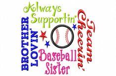Baseball Sister - Subway Art - Baseball Applique - Machine Embroidery Design -  7 sizes