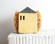 Housewarming Gift-Sponge Holder-Napkin Holder-New House Gift-Tin House-New Home Gift-Handmade Pottery