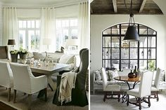 Settee seating - and love how the curtains are hung