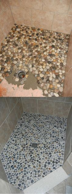 Upgrading Your Shower Floor from River Rock and Grout DIY Bathroom Makeover . - DIY and DIY Decorations - Upgrading your shower floor upgrade from river rock and grout DIY bathroom makeover … - Diy Décoration, Easy Diy Crafts, Creative Crafts, Home Renovation, Home Remodeling, Bathroom Remodeling, Bathroom Flooring, Diy Bathroom Remodel, Shower Remodel