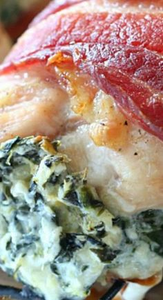 Bacon Wrapped Spinach Artichoke Stuffed Chicken