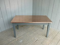 natural copper topped tapered leg table with rounded corner kitchen farmhouse - Copper Kitchen Table