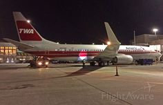 TWA Retro night shot @ KBOS Logan 1st visit 11/24/2015