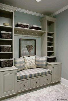love these built in shelves and seating, hmmm window seat. Interior Paint Colors, Interior Design, Hall Paint Colors, Room Interior, Interior Ideas, Built In Shelves, Storage Shelves, Entryway Storage, Built Ins