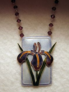 Vintage ENAMELED IRIS Necklace from The Bamboo by Wantitnowjewelry, $68.00