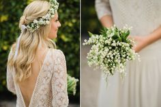 Beautiful white bouquet and flower crown | Photography by www.johnbarwoodphotography.co.uk/