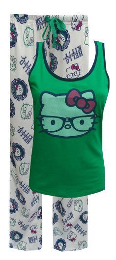 Nerdy Hello Kitty con los vidrios pijama Set