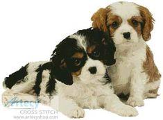 Two Spaniel Pups cross stitch pattern.