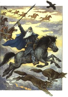 Happy Wednesday!!!! (Glædelig Onsdag!!!!) Odin (oh LOOK!!! Two wolves and two RAVENS!!!!)