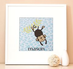 Custom Blue Hanging Monkey Nursery art from @Kidiliciouspins #PNapproved