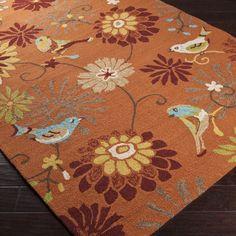 Hand-hooked Garlond Orange Indoor/Outdoor Floral Rug