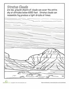 Clouds Second Grade Earth & Space Science Nature Worksheets: Stratus Clouds WorksheetSecond Grade Earth & Space Science Nature Worksheets: Stratus Clouds Worksheet 1st Grade Science, Science Biology, Weird Science, Science Lessons, Teaching Science, Primary Science, Teaching Aids, Earth And Space Science, Earth From Space