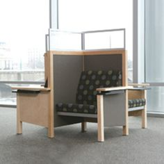 A great space saver that allows multiple people to study in a confined space yet have privacy