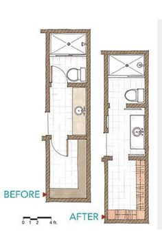 Floor Plan Long Narrow Bathroom Layout Caveat for small bathroom floor plans. As the small bathroom above shows adding a mirror across a whole wall can double the look and feel of a small room. Bathroom Closet, Bathroom Doors, Basement Bathroom, Master Closet, Bathroom Flooring, Bathroom Showers, Bathroom Cabinets, Bathroom Wall, Master Bathroom Layout