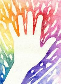 """Cut hand from contact paper and use masking tape to block out areas then add watercolor """"color spectrum"""" in the background....think I would have students zentangle the hand for contrast"""