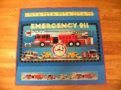 Handmade Firetruck Quilt. $42.00, via Etsy.