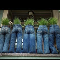 Are you looking for some ideas to recycle old jeans? DIY Old Jeans Planters is a very special one to add something distinctive to your garden or lawn. Diy Outdoor Furniture, Furniture Ideas, Upcycled Furniture, Unusual Furniture, Garden Furniture, Furniture Design, Outdoor Decor, Wildflower Seeds, Garden Planters