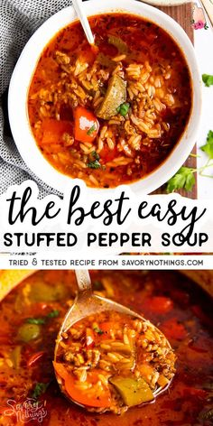 My Stuffed Pepper Soup has everything you love about stuffed peppers – bell peppers, ground beef, tomatoes, rice – in a Easy Homemade Recipes, Healthy Soup Recipes, Cooking Recipes, Weeknight Recipes, Chili Recipes, Sweet Recipes, Healthy Food, Easy Stuffed Peppers, Stuffed Pepper Soup