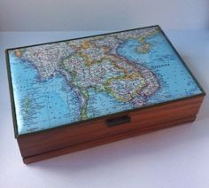 Upcycled Map Covered Jewelry Box Vintage Map of by melaniekielich, $35.00