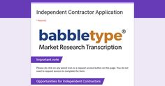 Independent Contractor Application #workformhomejobs