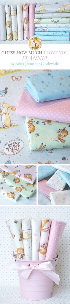 Guess How Much I Love You Flannel by Anita Jeram is a darling flannel collection from Clothworks Fabrics available at Shabby Fabrics.