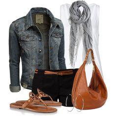 """Denim Jacket and Shorts"" by wishlist123 on Polyvore"