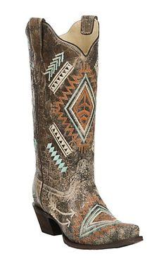 Corral Women's Black with Bone Distressed Multi Color Embroidery Snip Toe Boots | Cavender's