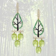 """Ilgiz F / The """"Winter Woods"""" earrings could be turned into """"Summer Woods"""" by some little (not too little) changes in a semi-precious palette."""