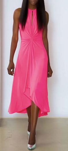 Neon Pink Gathered Dress by Marc Bouwer ♥I want this in black.