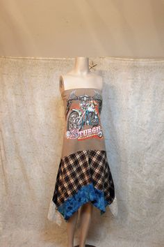 Boho Bike Week Tube Dress, Rocker Plaid Grunge, Junk Gypsy Style, Music Festival Dress.  Maybe a shirt without  a girl with huge boobs on it?