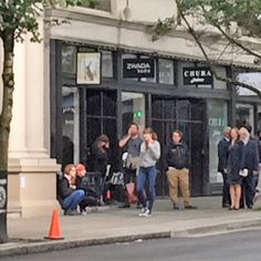 """dmayijohnsondaily: """" """"June 13: Dakota Johnson filming """"Fifty Shades Freed"""" the bank scene at 330 W Pender St, Vancouver. """" Thanks to @nymet265. """""""