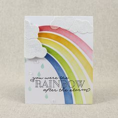 Rainbow After The Storm Card by Lizzie Jones for Papertrey Ink (May 2016)