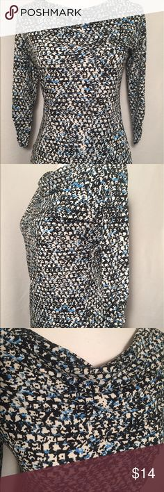 """Ann Taylor Shirt, Size SP Black and white print with blue accents. Attractive draped neck and rouched sleeves. Machine washable polyester and spandex. Bust measures 35"""". Sleeve length 18"""". Shirt length 23"""". Ann Taylor Tops"""