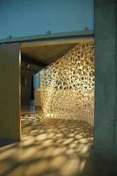 C_Wall by MATSYS    This project is the latest development in an ongoing area of research into cellular aggregate structures that has examined honeycomb and voronoi geometries and their ability to produce interesting structural, thermal, and visual performances.