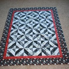 Image result for black white quilts with a hint of red