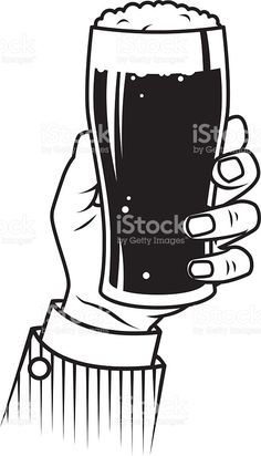 Vintage Hand Holding Beer royalty-free stock vector art