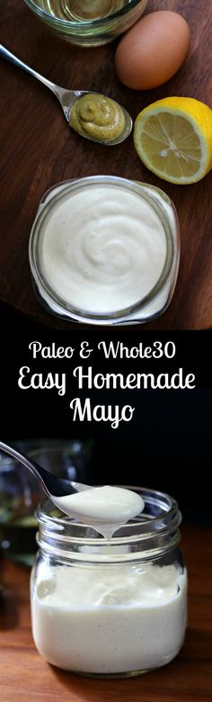 Paleo & Whole30 friendly easy homemade mayo recipe using 4 ingredients and an immersion blender. Use alone or as a base for other dips, dressings, and sauces!