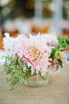 Wedding Centerpiece: A few dahlias and you're all set! See the wedding on SMP: http://www.StyleMePretty.com/2014/02/17/elegant-sonoma-mission-wedding/ Caroline Frost Photography